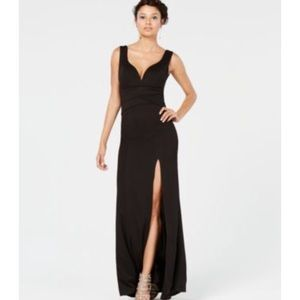 Emerald sundae black long slit leg ruched dress